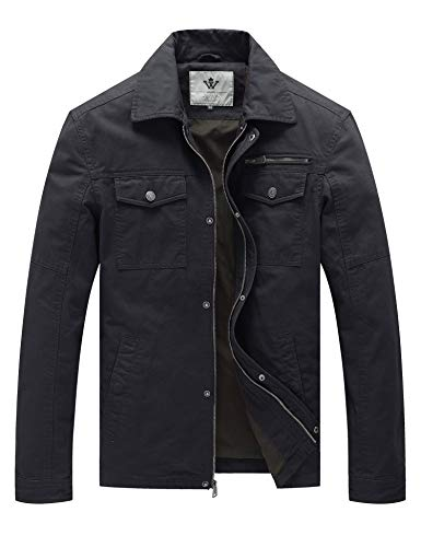 (WenVen Men's Flat Collar Canvas Cotton Military Jacket (Grey,M))