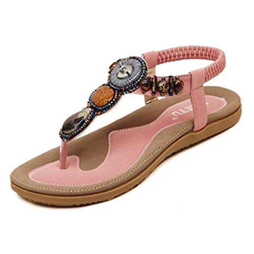 Tongshi Indumentaria femenina dulce con cuentas de clip del dedo del pie de las sandalias Pisos espina de pescado de Bohemia rosa