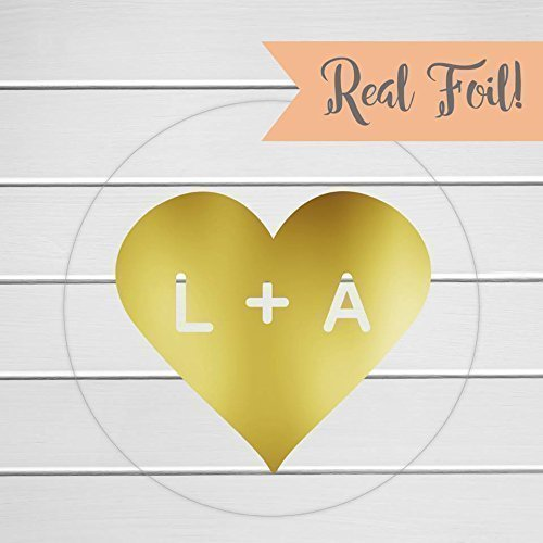 Initials in a heart stickers gold foil on clear transparent envelope seals wedding favor