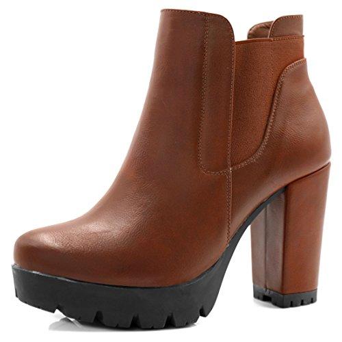 Image of Allegra K Women's Chunky High Heel Platform Zipper Chelsea Boots