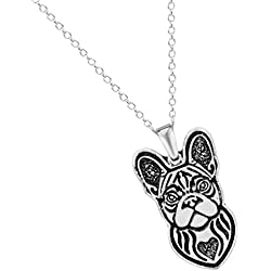 new yuan Handmade French Bulldog Puppy Pet Animal Necklaces Pendants Gift for Women and Girls Antique Silver