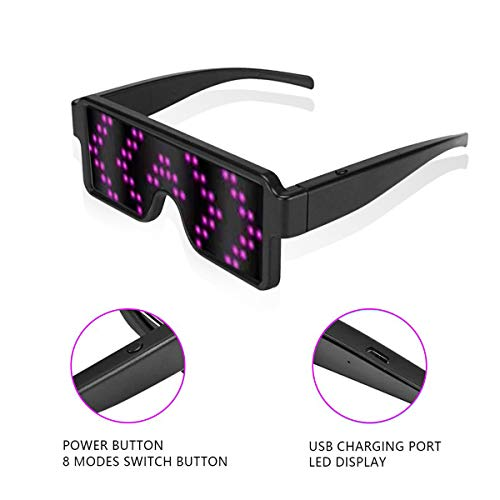 RICISUNG 2019 LED Sunglass,Flashing Cool Party Light up Glasses can work in 8 Animation Modes for 10 Hours,For Nightclubs, DJ, Halloween, Birthday Parties, New Year's party Supplies (Pink)