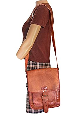Sharo Genuine Brown Leather Cross Body Messenger Bag