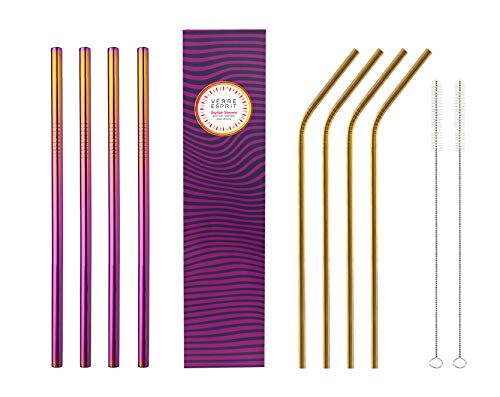 Stainless Steel Straws,Set of 8, straws drinking reusable, Metal straws, BPA Free drinking straws for Juices, Smoothies, Cocktails, Tumblers