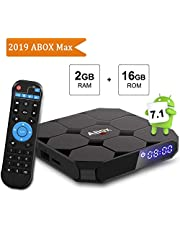 Android TV Box, ABOX A1 MAX Android 7.1 Smart TV Box de 2GB RAM+16GB ROM con BT 4.0 Soporta WiFi 2.4GHz /Full HD/ 4K H.265 Android Box