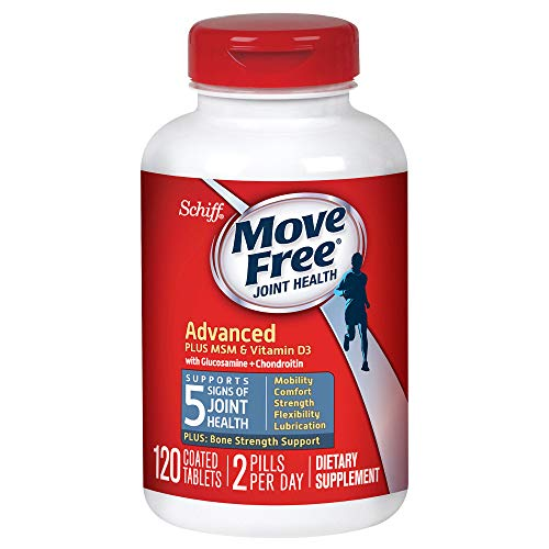 Glucosamine and Chondroitin Plus MSM & D3 Advanced Joint Health Supplement Tablets, Move Free (120 count in a bottle), Supports Mobility, Comfort, Strength, Flexibility and Lubrication by Move Free (Image #1)