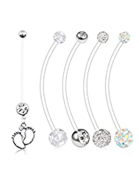 VCMART 5PCS 14G Clear Preganancy Belly Button Rings Felixble Sport Maternity Belly Button Ring Navel Barbell Body Jewelry Piercing Retainer