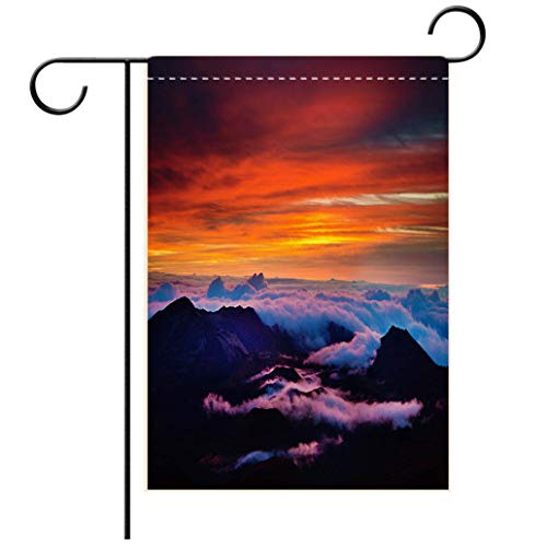 BEISISS 2-Sided Printing Color Garden Flag,Haleakala National Park Crater Sunrise in Maui Hawaiidecorated for Outdoor Holiday Gardens