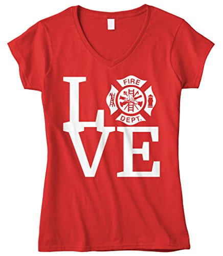 Firefighter Fitted T-shirt - Cybertela Women's Love The Fire Department Firefighter Fitted V-Neck T-Shirt (Red, Medium)