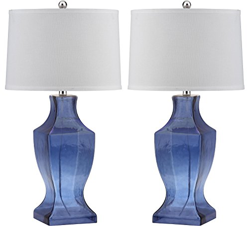 Safavieh Lighting Collection Glass Bottom Blue 28.5-inch Table Lamp (Set of 2) ()
