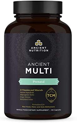 Ancient Nutrition, Ancient Multi Prenatal – 21 Vitamins. Minerals, Adaptogenic Herbs, Ginger Extract, Methylated Folate, Real Food, 90 Capsules