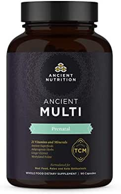 Ancient Nutrition, Ancient Multi Prenatal - 21 Vitamins. & Minerals, Adaptogenic Herbs, Ginger Extract, Methylated Folate, Real Food, 90 Capsules