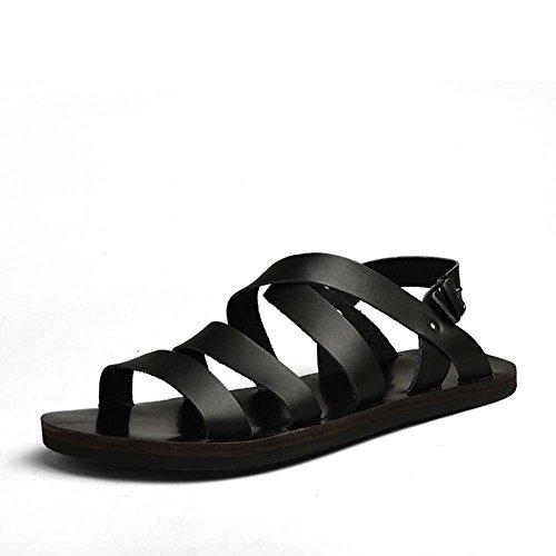 Summer Corium Uomo Hiking Buckle Fashion Black Da Sandals Outdoor Strap Casual B7BwxSE4q