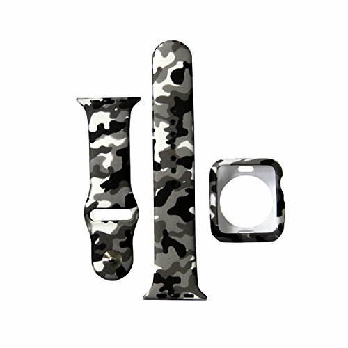 Camo Watch Band with Case, Silicone Sport iWatch Strap with Shock-Proof and Shatter-Resistant Protective Cover Compatible for Apple Watch 42mm Series 3/2/1 (Camouflage Black B+C, 42mm)