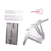 Domybest 13 pcs Premium Luthier Tools Set-Pin Puller Keychain,Double Sided Gauge Ruler,9pcs Stainless Steel Understring Radius Gauges,2 Protector Guards