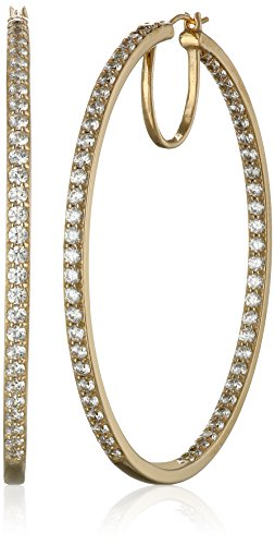 (Yellow-Gold-Plated Sterling Silver Swarovski Zirconia 2-Inch round Hoop Earrings (7 cttw))