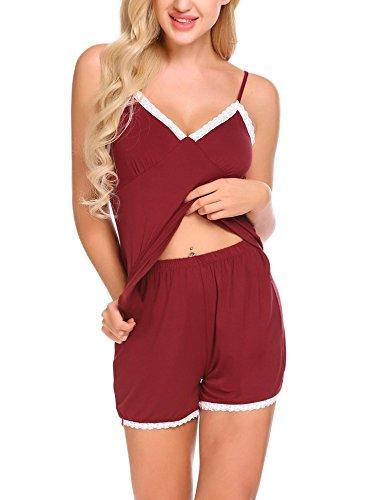 MAXMODA-Womens-Sleepwear-Cotton-Pajama-Cami-Set-Sexy-Cami-Shorts-Nightwear