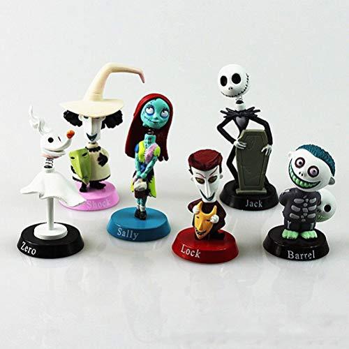 6 figuras de pesadilla antes de Navidad en miniatura juguetes para ninos, Jack, Sally, shock, cero, bloqueo, barril