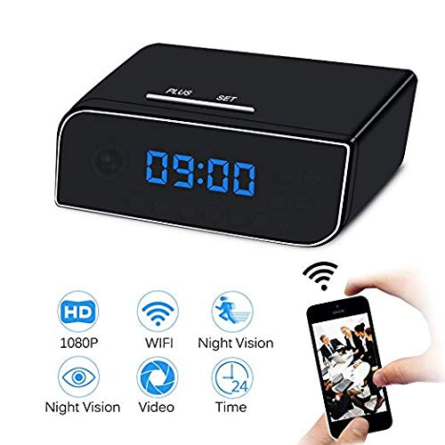 Spy Camera Clock EOVAS WiFi Hidden Spy Camera Clock Video Recorder Wireless IP Camera for Indoor Home Security Monitoring Nanny Cam with Night Vision Motion Detection