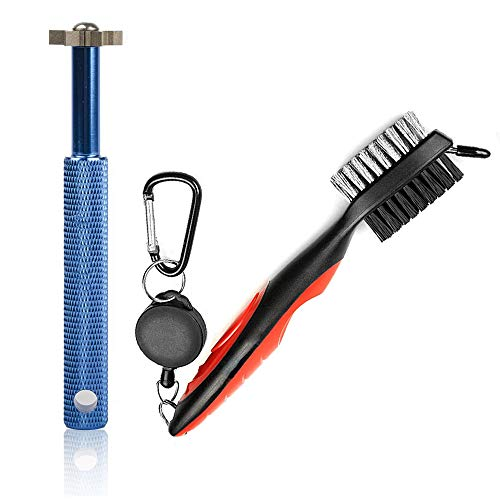 Gzingen Golf Groove Sharpener Tool, Golf Club Groove Sharpener and Retractable Golf Club Brush for Golfers, Practical Sharp and Clean Kits for All Golf Irons