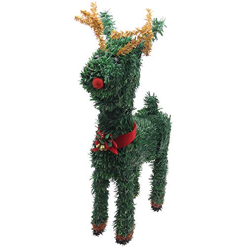 H&W 40cm/16Inch Christmas Weaving Deer Decoration (NO Light) for Christmas Decorate Offices, Apartments, or Any Room in a House]()