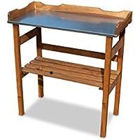 Mesa de Madera para jardinería con galvanizado Metal