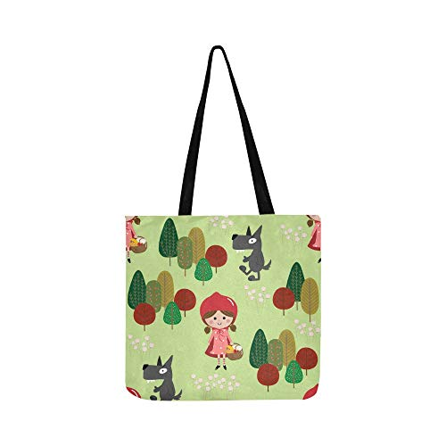 Red Riding Hood Big Bad Wolf Canvas Tote Handbag Shoulder Bag Crossbody Bags Purses For Men And Women Shopping Tote]()