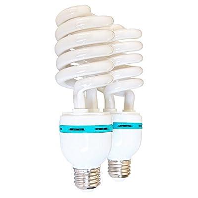 LimoStudio 2 Packs of Photography Fluorescent Full Spectrum Bulb, 105 Watt, 6500 Kelvin Daylight Neutral Tone, Energy Saving CFL Bulb, Photo Video Studio, LMS121