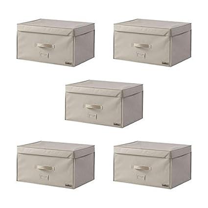 Compactor Lote de 5 cofres Revestido Beige 2.0 XL- almacenaje al vacío