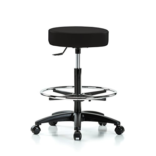 PERCH Rolling Single Lever Height Adjustable Swivel Stool with Foot Ring for Hardwood or Tile Floors, Counter Height, Black Vinyl