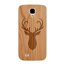 Laser Engraved Wood Case Galaxy S4 - Animal Deer Head Hunting (Cherry Case)