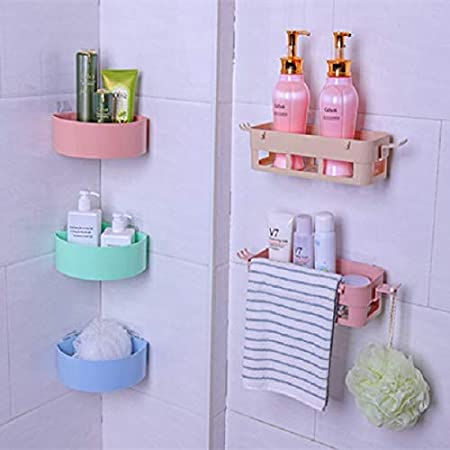HOME CUBE� Combo Offer Magic Sticker Series Self-Adhesive Bathroom Corner Shower Caddy and Bathroom Wall Shelf Storage Holder (1 Pc Corner Self + 1 Pc Bathroom Self)