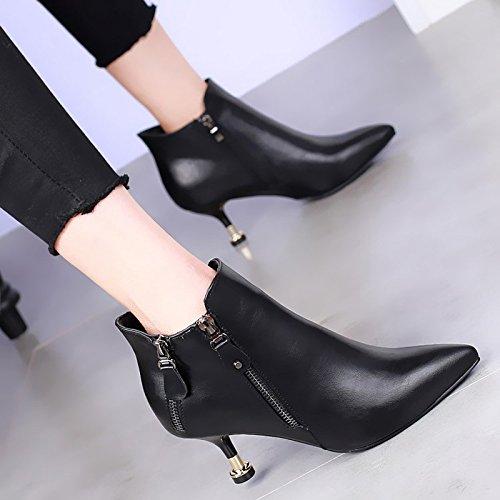 khskx-new High Heels Botas Están Bien Con El Lado Femenino cremallera Plus negro all-match de terciopelo Martin botas negro