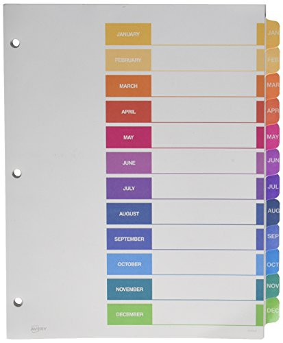 Avery Ready Index Table of Contents Dividers, 12-Tab, January - December, 1 Set (11127)