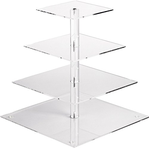 (YestBuy 4 Tier Maypole Square Wedding Party Tree Tower Acrylic Cupcake Display Stand (12.6 Inches))