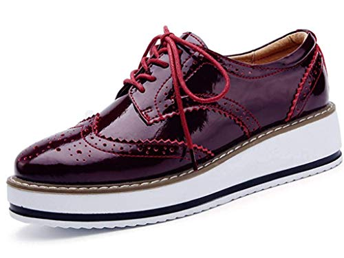 a27af3507638 chaussures Vernis Antidérapant Lacets Mocassins Minetom Rouge Ville Cuir  Oxford Rétro À Femmes Loafers De Derbies ...
