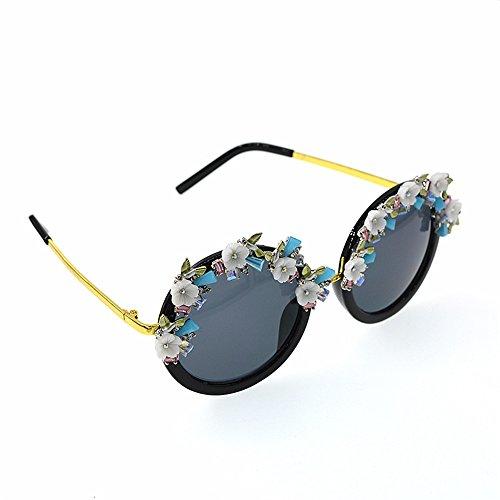 de Crystal Estilo Gafas Tonos Sol Sol de barroca Sol de Gafas Mano la a Mujeres de diseñador demostración Moda del KOMEISHO Eyewear Hechas de la Flor Novedad Brillantes Las Playa para la Gafas de de SqwtCXEa