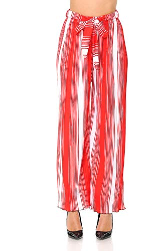 (Auliné Collection Womens Accordion Pleated High Waisted Wide Leg Palazzo Pants - Candy Cane Stripe S/M)