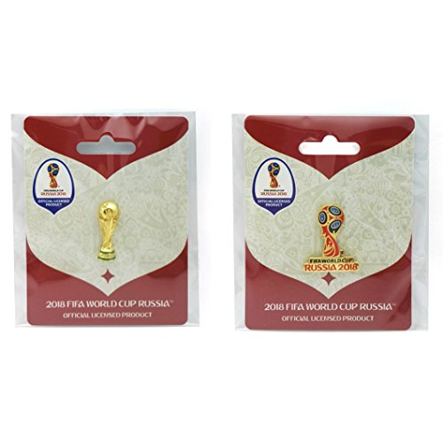 (FIFA 2018 World Cup - Trophy & Russia Logo Pins Combo Pack)