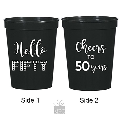 50th Birthday Black Stadium Plastic Cups - Hello 50, Cheers to 50 Years by Mandeville Party Company