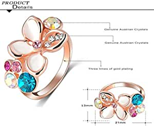 White Enamel Ring Colorful Austrian Crystal Women Ring Size 8