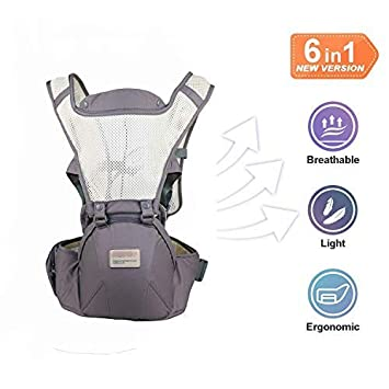 Baby Carrier with Hip Seat, 6-in-1 Convertible Carrier, 360 Ergonomic Baby Carrier Backpack, COOL MESH for Summer – for 8-33lbs – Baby Wrap Carrier, Baby Carriers Front and Back Toddler baby carrier