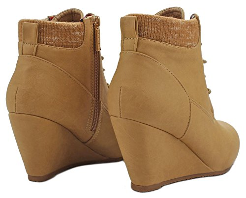 Cuff Sally28 Sweater Up Faux Boot Women Lace Booties Wedge Camel Knit Nubuck Ankle wqBnY0d
