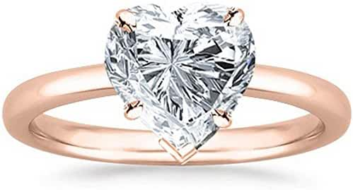 GIA Certified 18K White Gold Heart Cut Solitaire Diamond Engagement Ring (1 Carat G Color SI2 Clarity)