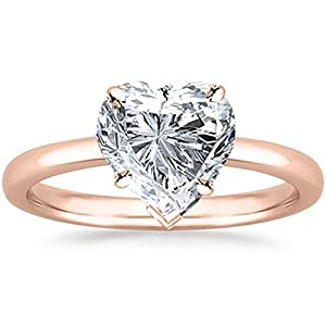 1/2 2 Carat GIA Certified 14K Rose Gold Solitaire Heart Cut Diamond Engagement Ring (D E Color, I1 Clarity)