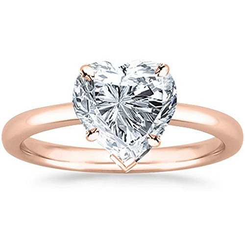 GIA Certified 14K Rose Gold Heart Cut Solitaire Diamond Engagement Ring (1 Carat G Color SI2 Clarity) Heart Shape Natural Diamond Solitaire