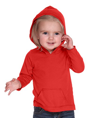 Kavio! Infants Jersey RawEdge High Low Long Sleeve Hoodie w.Pouch Red 12M