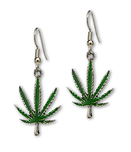 Marijuana Weed Pot Leaf Dangle Earrings Green Enamel on Pewter ()