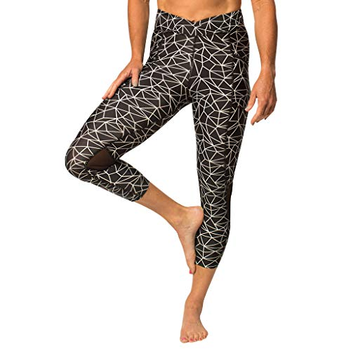 - Zuma Blu Women's Active Capri Pant with Pockets - High-Waist Capris for Yoga, Running, Workouts - Tummy Control Top Lightning Black Geometric Graphic Pattern Compression Leggings