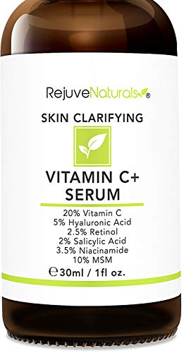 Vitamin C Serum Plus 5% Hyaluronic Acid, 2% Retinol, 2% Salicylic Acid, 3.5% Niacinamide, 10% MSM, 20% Vitamin C - Anti Aging Anti Wrinkle Skin Clearing Serum Organic Skin Care for Face and Eyes (1oz)